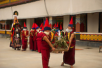 Buddhist Monks in a Losar ceremonial procession, Sikkim, India