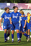 Carla Overbeck (4) and Brooke O'Hanley (12) at SAS Stadium in Cary, North Carolina on 6/14/03 before a game between the Carolina Courage and Atlanta Beat. The game ended 0-0.
