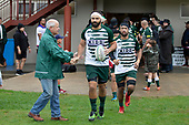 Peter White is congratulated by his father as he runs out for his 100th game for Manurewa. Counties Manukau Premier Club Rugby game between Ardmore Marist and Manurewa, played at Bruce Pulman Park Papakura on Saturday May 12th 2018. Ardmore Marist won the game 20 - 3 after leading 17 - 3 at halftime.<br /> Ardmore Marist - Katetistoti Nginingini try, penalty try, Latiume Fosita conversion, Latiume Fosita 2 penalties.<br /> Manurewa - Logan Fonoti penalty.<br /> Photo by Richard Spranger.