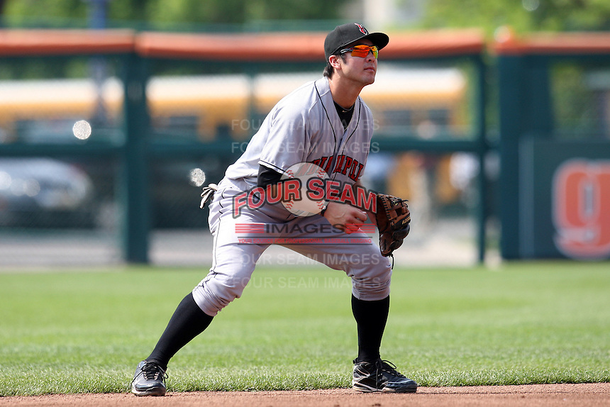 Indianapolis Indians shortstop Chase d'Arnaud during a game against the Buffalo Bisons at Coca-Cola Field on June 9, 2011 in Buffalo, New York.  Buffalo defeated Indianapolis 15-2.  Photo By Mike Janes/Four Seam Images