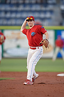 Clearwater Threshers second baseman Luke Williams (9) throws to first base during a game against the Jupiter Hammerheads on April 9, 2018 at Spectrum Field in Clearwater, Florida.  Jupiter defeated Clearwater 9-4.  (Mike Janes/Four Seam Images)