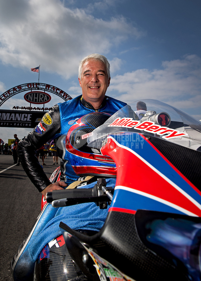 Sept. 1, 2013; Clermont, IN, USA: NHRA pro stock motorcycle rider Mike Berry during qualifying for the US Nationals at Lucas Oil Raceway. Mandatory Credit: Mark J. Rebilas-