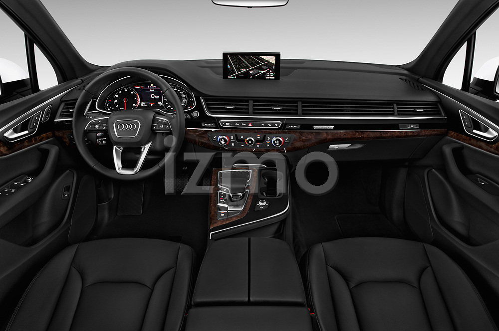 Stock photo of straight dashboard view of 2017 Audi Q7 Premium  5 Door SUV