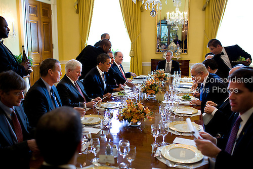 Washington, DC - May 18, 2009 -- United States President Barack Obama and Prime Minister Benjamin Netanyahu of Israel at their working lunch in  the Old Family Dining Room of the White House, Monday, May 18, 2009..Mandatory Credit: Pete Souza - White House via CNP