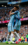 David Silva of Manchester City celebrates scoring with Leroy Sane of Manchester City during the English Premier League match at the Etihad Stadium, Manchester. Picture date: May 13th 2017. Pic credit should read: Simon Bellis/Sportimage