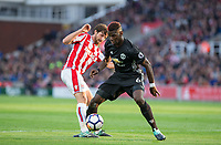 Paul Pogba of Man Utd tackles Joe Allen of Stoke City during the Premier League match between Stoke City and Manchester United at the Britannia Stadium, Stoke-on-Trent, England on 9 September 2017. Photo by Andy Rowland.