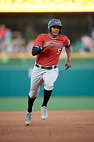 Rochester Red Wings right fielder Edgar Corcino (5) runs the bases during a game against the Indianapolis Indians on July 24, 2018 at Victory Field in Indianapolis, Indiana.  Rochester defeated Indianapolis 2-0.  (Mike Janes/Four Seam Images)