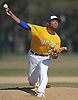 Jason Diaz #40, Kellenberg starting pitcher, delivers to the plate in the top of the third inning of a Nassau-Suffolk CHSAA varsity baseball game against St. John the Baptist at Eisenhower Park on Tuesday, April 18, 2017. He held Baptist to two runs over five innings of work and was the winning pitcher of record in Kellenberg's 6-2 win.
