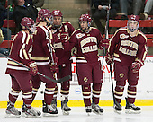 Teddy Doherty (BC - 4), Michael Matheson (BC - 5), Bill Arnold (BC - 24), Johnny Gaudreau (BC - 13), Ryan Fitzgerald (BC - 19) - The visiting Boston College Eagles defeated the Harvard University Crimson 5-1 on Wednesday, November 20, 2013, at Bright-Landry Hockey Center in Cambridge, Massachusetts.