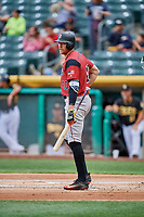 Hunter Pence (40) of the Sacramento River Cats bats against the Salt Lake Bees at Smith's Ballpark on May 17, 2018 in Salt Lake City, Utah. Salt Lake defeated Sacramento 12-11. (Stephen Smith/Four Seam Images)