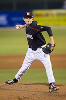 Kannapolis Intimidators relief pitcher Alex Powers (39) in action against the Hickory Crawdads at CMC-Northeast Stadium on May 19, 2014 in Kannapolis, North Carolina.  The Crawdads defeated the Intimidators 10-6.  (Brian Westerholt/Four Seam Images)