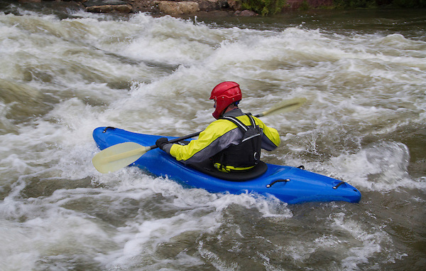 Kayaker in Clear Creek, Golden, Colorado,