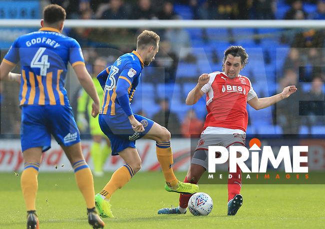 Markus Schwabl of Fleetwood Town challenges for during the Sky Bet League 1 match between Shrewsbury Town and Fleetwood Town at Greenhous Meadow, Shrewsbury, England on 21 October 2017. Photo by Leila Coker / PRiME Media Images.
