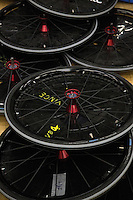 27 MAY 2013 - DONCASTER, GBR - Wheels lay piled up ready for use during the 2013 Great Britain Wheelchair Rugby Nationals at The Dome in Doncaster, South Yorkshire .(PHOTO (C) 2013 NIGEL FARROW)