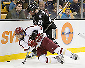 Johnny Gaudreau (BC - 13), Alex Velischek (PC - 27) - The Boston College Eagles defeated the Providence College Friars 4-2 in their Hockey East semi-final on Friday, March 16, 2012, at TD Garden in Boston, Massachusetts.