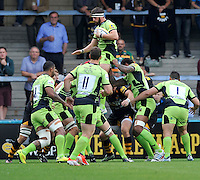 High Wycombe, England. Tom Wood of Northampton Saints wins the line out during the Aviva Premiership match between Wasps and Northampton Saints at Adams Park on September 14, 2014 in High Wycombe, England.