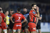 Hugo Bonneval of RC Toulon has a word with his back line. European Rugby Champions Cup match, between Bath Rugby and RC Toulon on December 16, 2017 at the Recreation Ground in Bath, England. Photo by: Patrick Khachfe / Onside Images