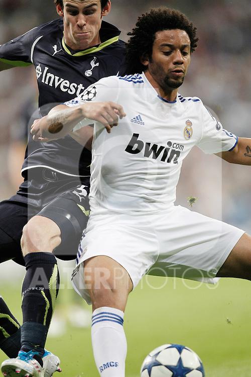 Real Madrid's Marcelo Vieira and Tottenham's Gareth Bale during Champions League match on April, 5th 2011...Photo: Cesar Cebolla / ALFAQUI