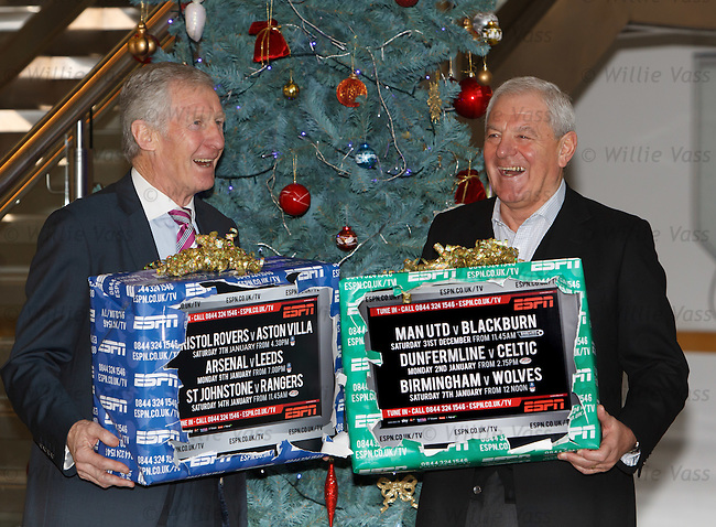 Billy McNeill and Walter Smith at Hampden to promote ESPN's festive TV offerings