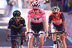 Race leader Tom Dumoulin (NED) Team Sunweb attacks Nairo Quintana (COL) Movistar and Vincenzo Nibali (ITA) Bahrain-Merida across the finish line of Stage 18 of the 100th edition of the Giro d'Italia 2017, running 137km from Moena to Ortisei/St. Ulrich, Italy. 25th May 2017.<br /> Picture: LaPresse/Gian Mattia D'Alberto   Cyclefile<br /> <br /> <br /> All photos usage must carry mandatory copyright credit (&copy; Cyclefile   LaPresse/Gian Mattia D'Alberto)