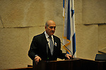 Israel's Prime Minister Ehud Olmert addresses the Knesset during a memorial ceremony for Yitzhak Rabin, in Jerusalem, Israel November 10, 2008 (Photo by Ahikam Seri).