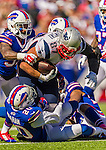 12 October 2014: New England Patriots tight end Rob Gronkowski rushes for yardage during a game against the Buffalo Bills at Ralph Wilson Stadium in Orchard Park, NY. The Patriots defeated the Bills 37-22 to move into first place in the AFC Eastern Division. Mandatory Credit: Ed Wolfstein Photo *** RAW (NEF) Image File Available ***