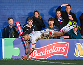 10th February 2019, Belle Vue, Wakefield, England; Betfred Super League rugby, Wakefield Trinity versus St Helens; Tom Makinson of St Helens dives over and scores a try in the corner to make it 12-18