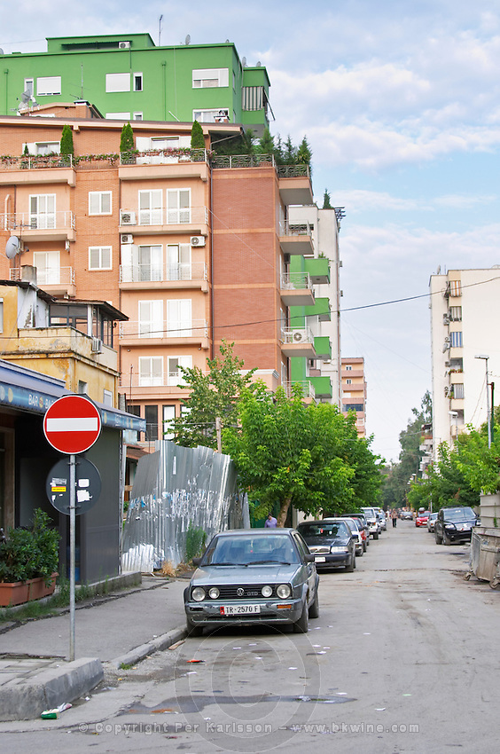 Street scene from the part of the city called The Block that used to be reserved for party dignitaries during the communist era. Apartment buildings. Tirana capital. Albania, Balkan, Europe.