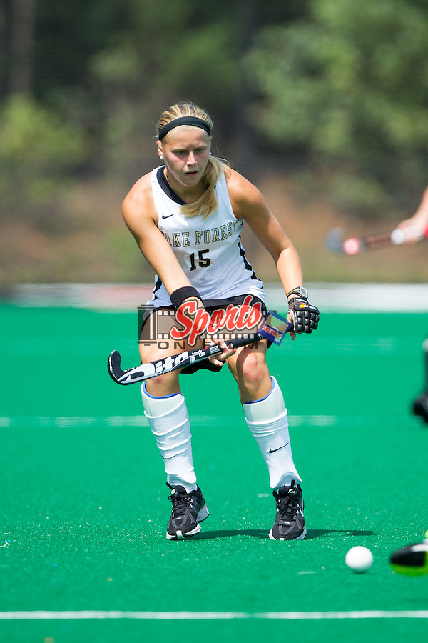 Krysta Wangerin (15) of the Wake Forest Demon Deacons on defense during second half action against the Davidson Wildcats at Belk Turf Field on September 7, 2014 in Winston-Salem, North Carolina.  The Demon Deacons defeated the Wildcats 3-0.  (Brian Westerholt/Sports On Film)