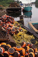 fishing nets, fishing boat, Cape Breton, Cabot Trail, Nova Scotia, NS, Canada, Fishing boat and fishing nets on a dock on Cape Breton Island on in Nova Scotia.