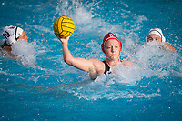 STANFORD, CA - February 4, 2018: Mackenzie Wiley at Avery Aquatic Center. The Stanford Cardinal defeated Long Beach State 14-2.