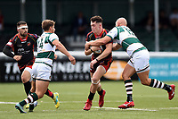 Joe Goodchild of the Dragons is tackled. Pre-season friendly match, between Ealing Trailfinders and the Dragons on August 11, 2018 at the Trailfinders Sports Ground in London, England. Photo by: Patrick Khachfe / Onside Images