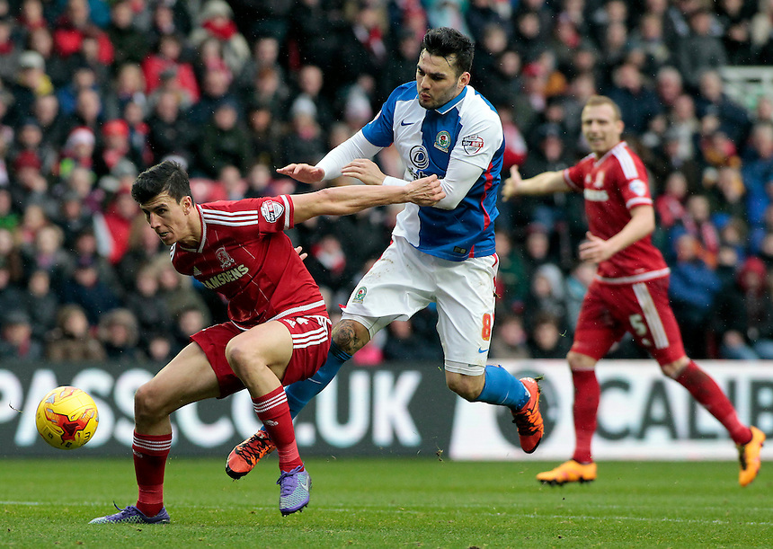 Blackburn Rovers' Tony Watt battles with Middlesbrough's Daniel Ayala<br /> <br /> Photographer David Shipman/CameraSport<br /> <br /> Football - The Football League Sky Bet Championship - Middlesbrough v Blackburn Rovers - Saturday 6th February 2016 - Riverside Stadium - Middlesbrough <br /> <br /> &copy; CameraSport - 43 Linden Ave. Countesthorpe. Leicester. England. LE8 5PG - Tel: +44 (0) 116 277 4147 - admin@camerasport.com - www.camerasport.com