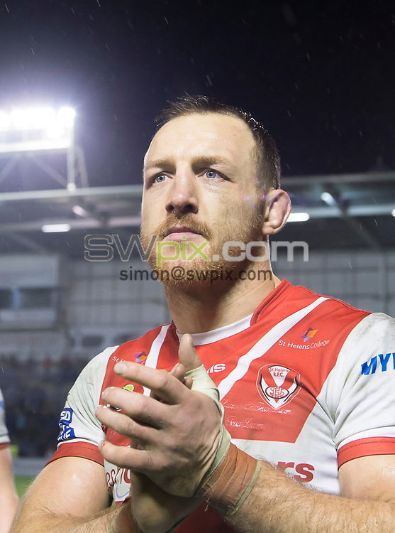 Picture by Allan McKenzie/SWpix.com - 09/03/2018 - Rugby League - Betfred Super League - Warrington Wolves v St Helens - Halliwell Jones Stadium, Warrington, England - St Helens' James Roby thanks the fans for their support after victory over Warrington.