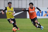 SÃO PAULO,SP, 25 Junho 2013 -  Douglas e Romarinho durante treino do Corinthians no CT Joaquim Grava na zona leste de Sao Paulo, onde o time se prepara  para o campeonato brasileiro. FOTO ALAN MORICI - BRAZIL FOTO PRESS