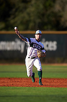 Chicago State Cougars shortstop Julian Russell (1) throws to first base during a game against the Georgetown Hoyas on March 3, 2017 at North Charlotte Regional Park in Port Charlotte, Florida.  Georgetown defeated Chicago State 11-0.  (Mike Janes/Four Seam Images)