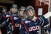 Nora Maclaine (UConn - 6), Lexi Lersch (UConn - 5), Theresa Knutson (UConn - 3) - The Boston College Eagles defeated the visiting UConn Huskies 4-0 on Friday, October 30, 2015, at Kelley Rink in Conte Forum in Chestnut Hill, Massachusetts.