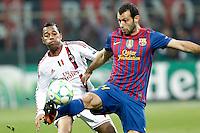 MILANO 28 MARZO 2012, MILAN - BARCELLONA,QUARTI DI FINALE UEFA CHAMPIONS LEAGUE 2011 - 2012, NELLA FOTO: ROBINHO - MASCHERANO , FOTO DI ROBERTO TOGNONI.