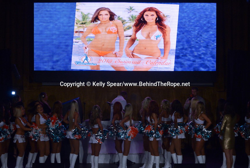 Miami Dolphins Cheerleaders, Samantha and Amy, revealed as cover models to swimsuit calendar at Miami Dolphins Cheerleaders 2013 Swimsuit Calendar Unveiling Fashion Show at LIV Nightclub in The Fontainebleau Miami Beach Hotel, Miami Beach, FL on August 26, 2012