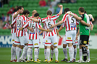 MELBOURNE, AUSTRALIA - NOVEMBER 14: Players from the Heart gather together during the round 14 A-League match between the Melbourne Heart and Brisbane Roar at AAMI Park on November 14, 2010 in Melbourne, Australia (Photo by Sydney Low / Asterisk Images)