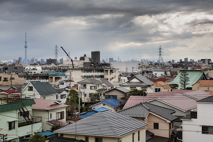 Tokyo, March 10 2015 - Shibamata, in the footsteps of Tora-san and Yoji Yamada. Tokyo Skytree and the roofs of individuals houses, as seen from Shibamata.