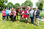 On The Edge ridden by Shane Ross receives their prizes after winning the Lee Strand and O'Connell Plate at Castleisland Races on Sunday included in picture are Kay Reidy, Amanda Burke, Helen O'Sullivan, Isabel Burke, Chloe Keane, Caroline O'Sullivan, Shane Ross, Alex Hamington Betty O'Connell and John Daly
