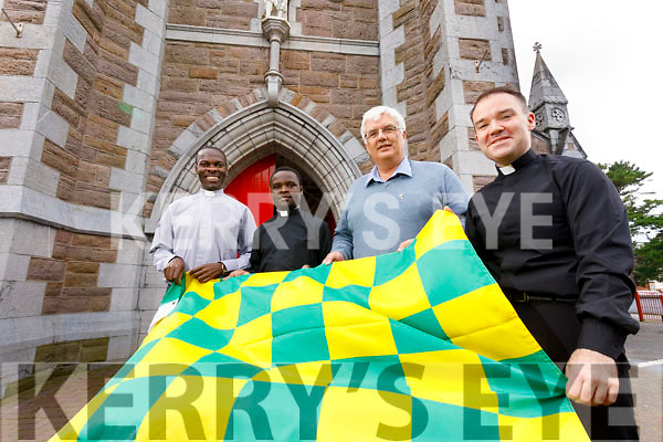 Saint Johns church is changing their mass time to 4.30PM on Saturday to avoid a clash with the All Ireland Final replay, from left: Vitalis Barasa, Fr Amos Ruto, Deacon Denis Kelliher, and Fr Sean Jones.