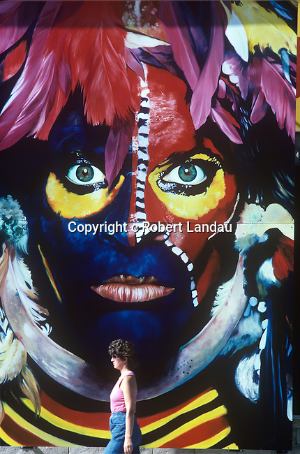"""David Lee Roth billboard  for record Eat """"Em and Smile"""" on the Sunset Strip at Tower Records circa 1986"""