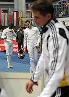 European Championships Fencing 2010 / Fecht Europameisterschaft 2010 in Leipzig - Competition Championat d'europe - im Bild: mens epee team - Jörg Fiedler (m.)  after losing the match. Foto: Norman Rembarz..Norman Rembarz , Autorennummer 41043728 , Augustenstr. 2, 04317 Leipzig, Tel.: 01794887569, Hypovereinsbank: BLZ: 86020086, KN: 357889472, St.Nr.: 231/261/06432 - Jegliche kommerzielle Nutzung ist honorar- und mehrwertsteuerpflichtig! Persönlichkeitsrechte sind zu wahren. Es wird keine Haftung übernommen bei Verletzung von Rechten Dritter. Autoren-Nennung gem. §13 UrhGes. wird verlangt. Weitergabe an Dritte nur nach  vorheriger Absprache..