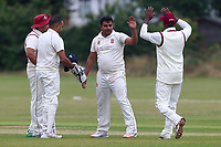 Parkonians celebrate the fourth Hainault wicket during Hainault and Clayhall CC (batting) vs Oakfield Parkonians CC, Shepherd Neame Essex League Cricket at the Jack Carter Pavilion on 15th July 2017