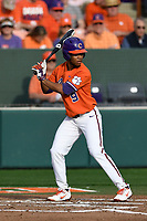 Second baseman Jordan Greene (9) of the Clemson Tigers bats in a game against the William and Mary Tribe on February 16, 2018, at Doug Kingsmore Stadium in Clemson, South Carolina. Clemson won, 5-4 in 10 innings. (Tom Priddy/Four Seam Images)