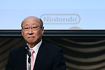 Nintendo Co. President Tatsumi Kimishima attends a news conference in Tokyo, October 29, 2015. <br /> (Photo by Takeshi Sumikura/AFLO)