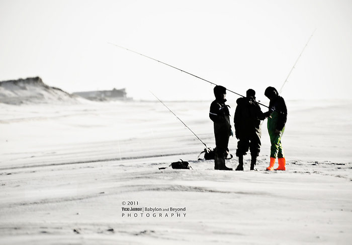 Fishing Conference at Robert Moses Beach in Late Fall - Red Boots