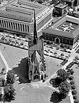 Oakland Section of Pittsburgh; view of Heinz Chapel from Pitt's Cathedral of Learning - 1960. The nondenominational chapel was given by the H.J. Heinz family to the University of Pittsburgh and was dedicated in 1938.